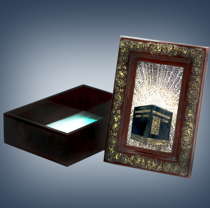 PERSONALIZED KAABA FRAME ISLAMIC WOODEN BOX