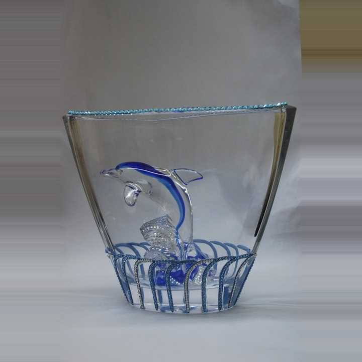 Vase with Swarovski Dolphin