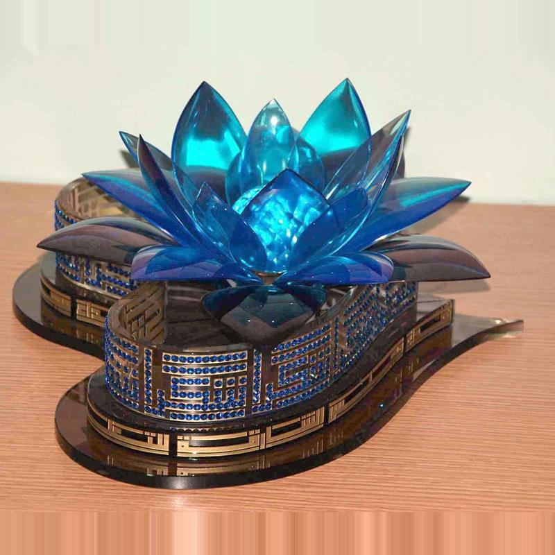 crystal flower with arabic calligery and swaroki gems 3D model